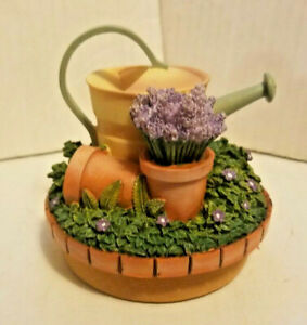 "NEW ""Our America Gift"" Herbs and Watering Can Round Candle Jar Topper Flowers"