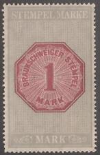 Brunswick Braunschweig Revenue Erler #25b MNH 1M wmkd light olive gray 1907