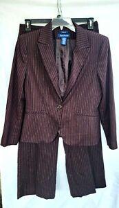 Evan Picone 2 Piece Pant Blazer Suit Womens Size 12 Stretch Brown Colored Stripe
