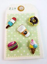 Junk Food Pins Set Of 5 Coffee Doughnut Ice Cream Popsicle Hamburger Enamel Zen