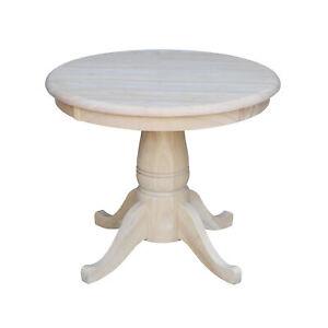 "22"" Traditional Round Dining Table Elegant Pedestal Base Solid Wood Unfinished"