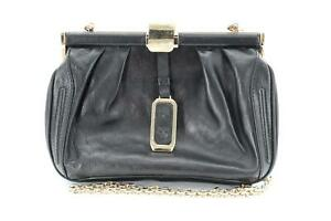 MCM, Black Leather, Gold Tone Hardware, Small Black, Crossbody Clutch Bag