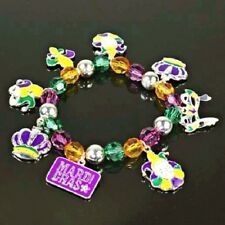 Silver-tone New Orleans Mardi Gras Mixed Charm and Bead Stretch Bracelet