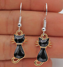Black & Gold Kitten Cat Kitty 925 Silver Plated Hook Girl Women Earrings Dangle