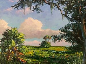 Florida Knife Oil Painting - Old Oak Tree - Highwaymen Like- Lost Years Art 2.1