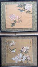 ECOLE CHINOISE du XXe.Oiseau et fleurs.2 gouaches sur soie.19x21.SHG.Encadré.