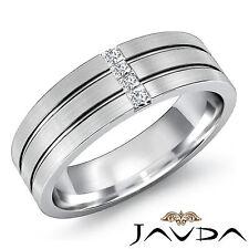 Mens Half Wedding Band 18k White Gold 4 Stone Princess Diamond Solid Ring 0.15Ct