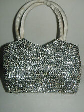 GLITTERING SILVER SEQUIN SMALL EVENING BAG PURSE PROM NEW YEARS EVE / CHRISTMAS