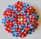 """4.5"""" Patriotic Red White Blue Gingham Peony Artificial Silk Flower Hair Clip #1"""