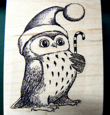P29 Owl with Christmas hat Rubber Stamp WM 2.5x2""
