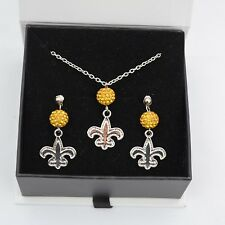 New Orleans Saints Jewelry Shamballa Bead Crystal Necklace and Earrings Set