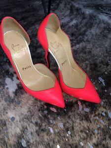 Christian Louboutin Dalida 120 Fluo Matte Coral Neon Curve Heel Size 4 orig $965