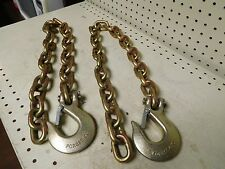 """NEW,  3/8"""" X 36""""  G70 TRAILER SAFETY CHAIN WITH CLEVIS HOOK  ( QTY. OF 2 )"""