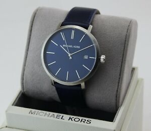 NEW AUTHENTIC MICHAEL KORS BLAKE SILVER BLUE LEATHER MEN'S MK8675 WATCH