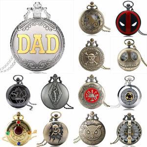 Mens Vintage Retro Antique Quartz Movement Pocket Watch Necklace Chain Pendant