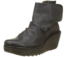 FLY London YOMI Leather Ankle Boots - Yomi765Fly CHOCOLATE Brown Size EU 42