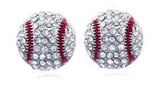 Clear Crystal Baseball Ball Sport Stud Earrings Gift for Baseball Girl e103