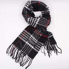 Men Women unisex 100%CASHMERE Black Scarf tartan stripe Plaid SCOTLAND