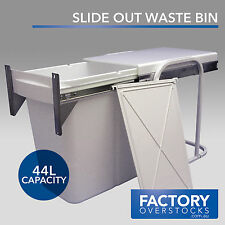 44L Slide Out Divided Door Mount Waste Bin - Pull Out Concealed Kitchen Rubbish