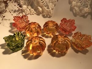 8 Little Halloween Glass Pumpkin & Leaf Candle Holders Candles Included Holiday