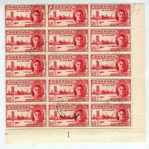 GRENADA; 1946 GVI Victory issue fine used BLOCK, VARIETY No extra Boom