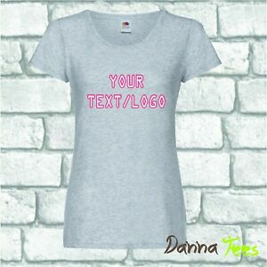 Lady Fit CREW NECK Personalised Custom Printed T Shirts Text Hen Birthday Logo