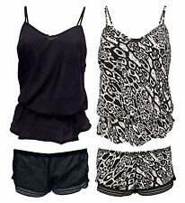 Ladies Sexy Black Leopard Print Elastic Waist Ruffle Cami and Shorts Pyjamas Set