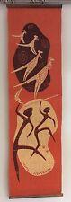 Mid Century Retro Australia Linen Wall Hanging Art Kangaroo Aboriginal Boomerang