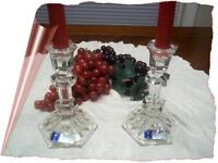 2 Crystal Clear Industries 24% Lead Crystal Austria Candlestick Candle Holders