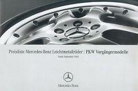 1125MB Mercedes Leichtmetallräder Vorgänger Preisliste 2005 9/05 price list