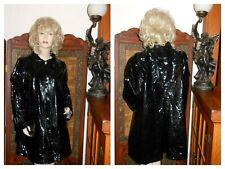 Vtg M/L Shiny Black pvc Raincoat patent Trench Coat vinyl rain jacket Metal Clip