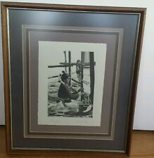 "Steve Forbis Original Stone Lithograph ""The Weaver"" Hand Signed Artist Proof"