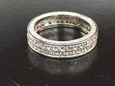 Fine Round Diamond Pave 2-Row White Gold Band Ring 14Kt 1.40Ct Size 4.25