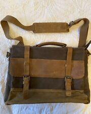 Newhey Brown Waxed Canvas & Leather Messenger Lap Top Men's Shoulder Bag