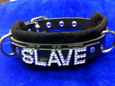 SLAVE- leather collar with black suede -Can customize word or color!