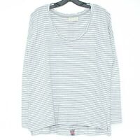 Lucy & Laurel Womens Top Shirt Long Sleeve Stripe Gray White Medium BP
