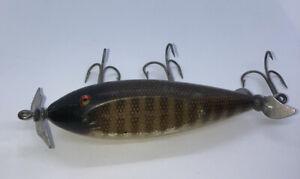 Vintage Creek Chub Injured Minnow Wood Fishing Lure Glass Eyes