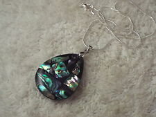 Silvertone Blue Paua Abalone Inlay Pendant Necklace  (A43)
