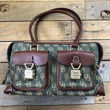 Dooney & Bourke Canvas Leather Logo Double Pocket Tote Handbag - Green