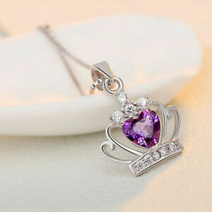 Valentine's Gift Natural Purple Amethyst Gems Silver Love Heart Necklace Pendant