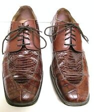 Stacy Adams Mens 12 M Genuine Snake Skin Leather Oxfords Shoes Lace Up Brown
