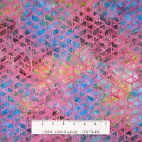 Tonga Batik Fabric - Pink Geometric on Brown & Blue- Timeless Treasures YARD
