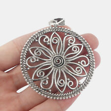 2x Silver Open Round Filigree Flower Charms Pendants Jewellery Necklace Making