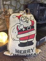 VINTAGE RUSTIC CHRISTMAS HESSIAN/JUTE DESIGN SANTA STOCKING GIFT BAG SACK Large