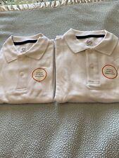 2 Boy's School Uniform Polo Shirts White Size L 10-12 Wonder Nations New