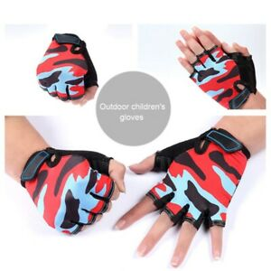 Kids Children Cycling Half Finger Gloves Boys Mittens BMX Bike Bicycle Scooters