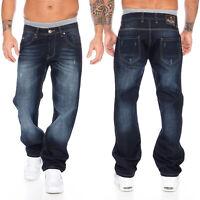 Rock Creek Herren Jeans Hose Denim Blau Straight-Cut Gerades Bein RC-2091