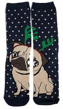 LADIES SPLIT PUG DOG WITH REINDEER ANTLERS SOCKS UK 4-8 EUR 37-42 USA 6-10