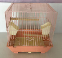 vintage Hoei pink bird cage metal and plastic with birch feeders cottage chic