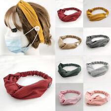 Womens Korean Button Hair Band Cross Knot Anti-Le Hair Accessories Headband Gift